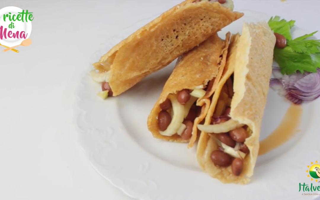 Tacos di parmigiano e insalata di fagioli borlotti