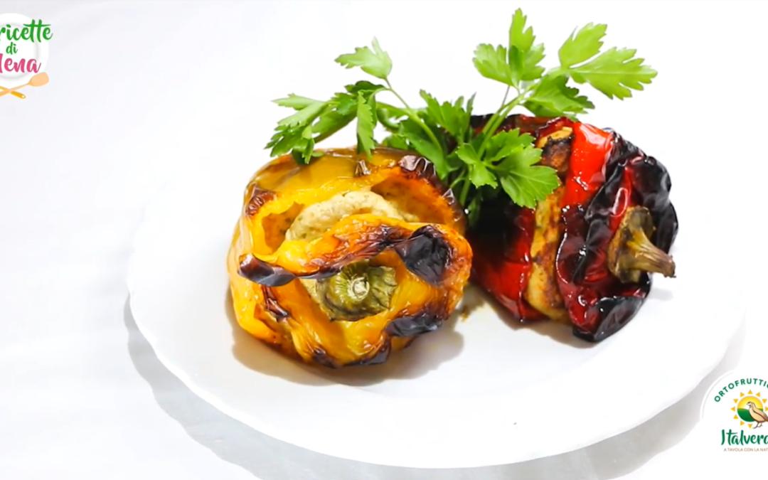 Peperoni al forno ripieni di ricotta e tonno